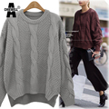 ACHIEWELL Plus Size 3XL Women Knitted Sweater and Pullovers O Neck Twist Long Sleeve Winter Grey Loose Women Sweater
