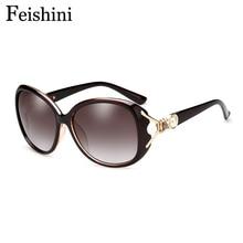 FEISHINI Superstar Vintage Sunglasses Women Polarized Brand Designer 2017 Unique Fox Head With Pearl Luxury UVb HD Glasses Oval