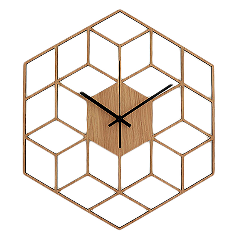 1 Pcs Hexagon Wood Wall Clock Advanced European Minimalist Geometric Lines Exquisite Artistic Silently Clock for Cafe Home