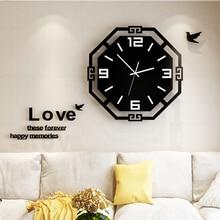 3D Acrylic Wall Clock Modern Design Silent Quartz Watch For Kitchen Living Room Decorative Free Shipping