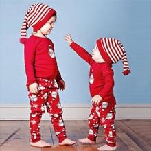 Горячая распродажа рождественских комплектов одежды красного цвета для новорожденных мальчиков и девочек Футболка с принтом комплект из топа и штанов, коллекция года, Прямая поставка, ST06