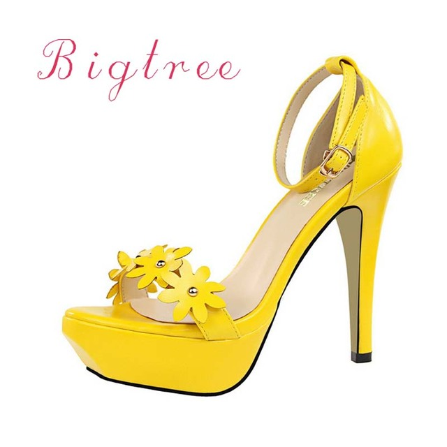 Women Pumps Fashion Platform Peep Toe PU Leather Yellow Sandals Shoes Woman  Sexy 12cm High Heels Shoes With Flower 45ddbcd166