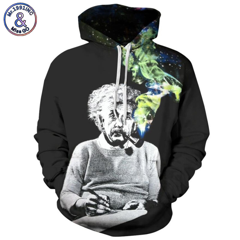 Mr.1991INC 2018 new Einstein Smoking print 3d Sweatshirts Men/womens hoodie sweatshirt Casual Hooded Pullovers men Hoodies M088