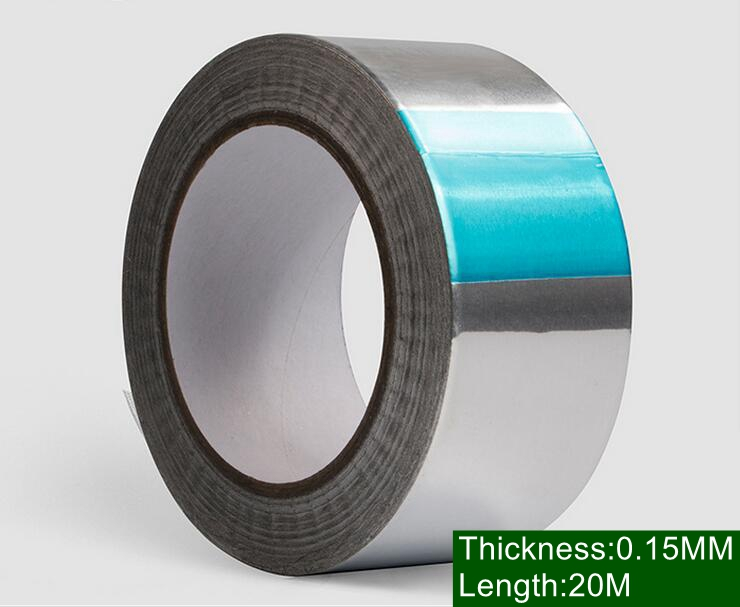 5Rolls Width 40mmx20m thickness 0 15mm Aluminum Foil tape Adhesive Heat resistant waterproof radiation protection shielding