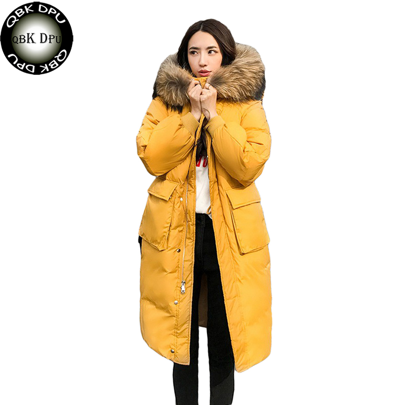Korea Style Women Real Fur Collar Loose Down Jacket 2018 Winter Warm Thick Cotton Down Coat Fashion Solid Colors Long Overcoat