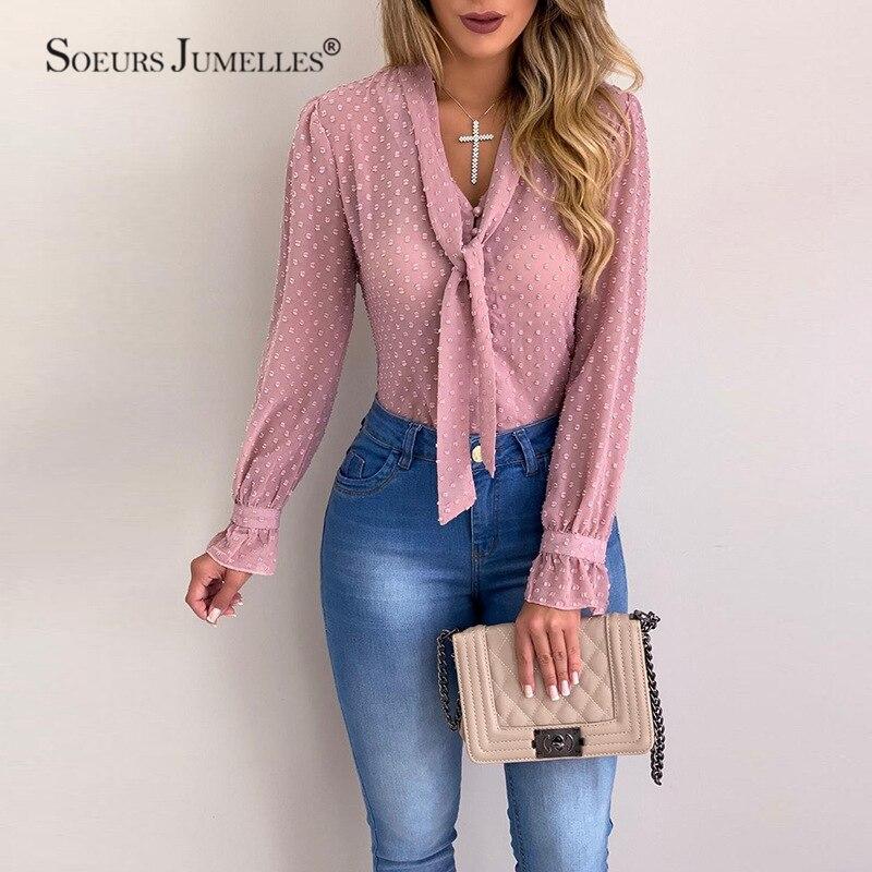 Blusa feminina topos moda dot com decote em v elegante magro camisa casual fino escritório senhoras chiffon manga longa verão feminino topos yf01976