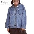 2017 nueva moda llegada de las mujeres denim chaquetas vintage casual escudo de manga larga jean abrigos chaqueta prendas de vestir exteriores básica femenina