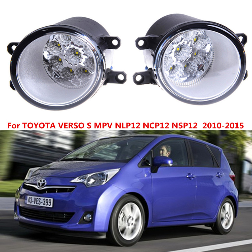 For TOYOTA VERSO S MPV NLP12 NCP12 NSP12  2010-2015 Car styling LED fog Lights high brightness fog lamps 1set for lexus rx gyl1 ggl15 agl10 450h awd 350 awd 2008 2013 car styling led fog lights high brightness fog lamps 1set