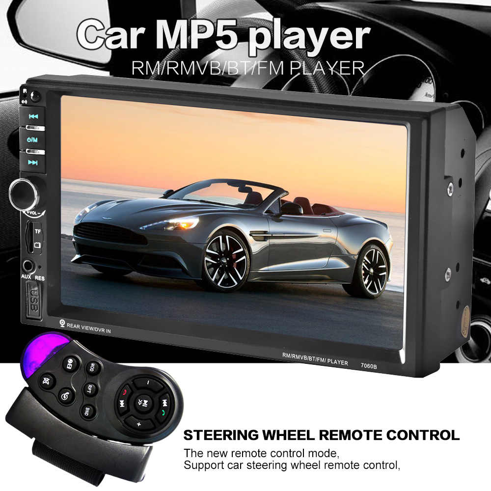 Control del volante 7 pulgadas pantalla táctil coche radio MP5 MP3 2 DIN coche Audio video USB TF AUXIN bluetooth prioridad de respaldo HD