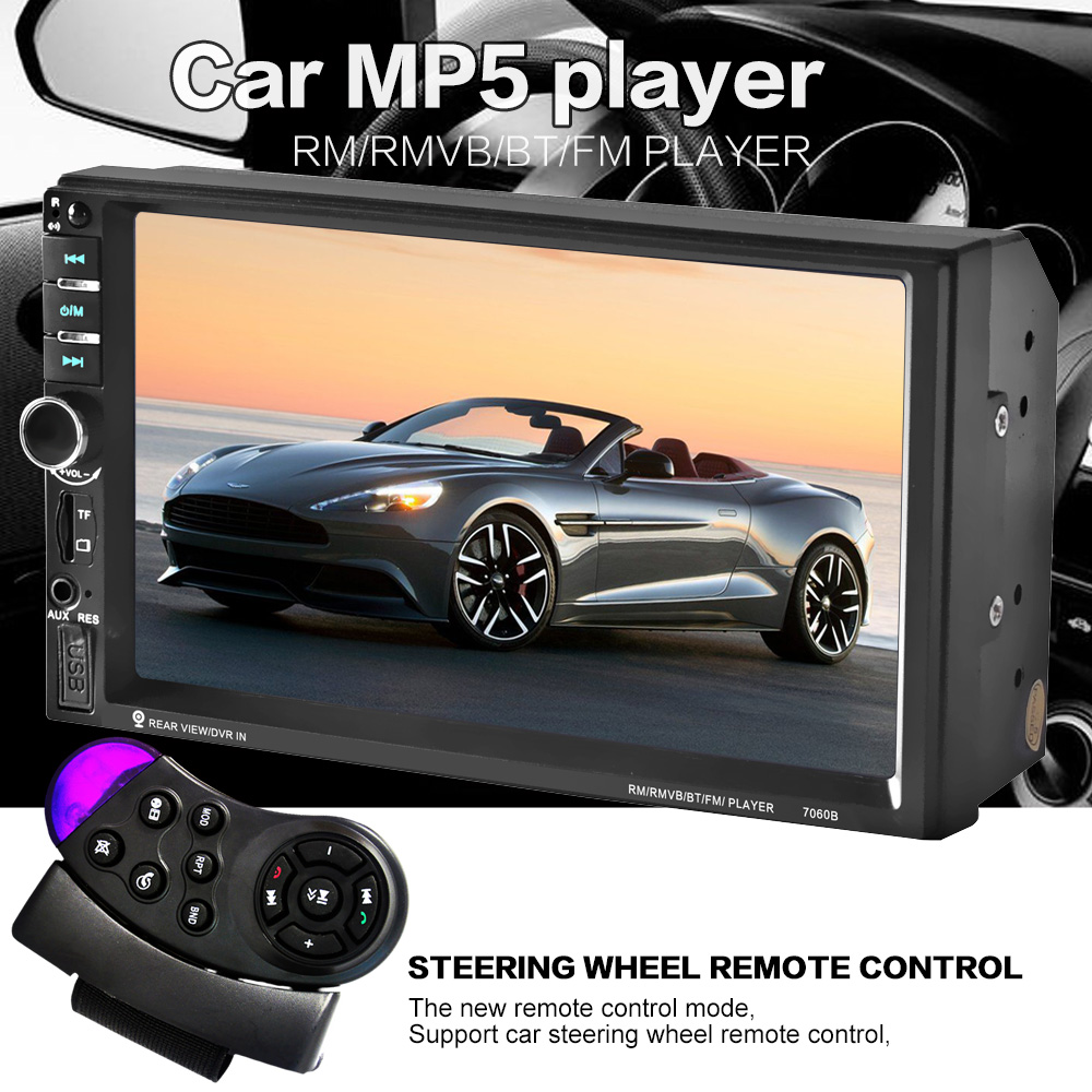 Controlul volanului Ecran tactil de 7 inch Car radio MP5 MP3 2 DIN Car audio Video USB TF AUXIN bluetooth prioritate de back-up HD