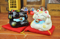 2x Lucky Mini Cat Piggy Bank Signify Budget Saving Money Coin Box Ceramic Sets