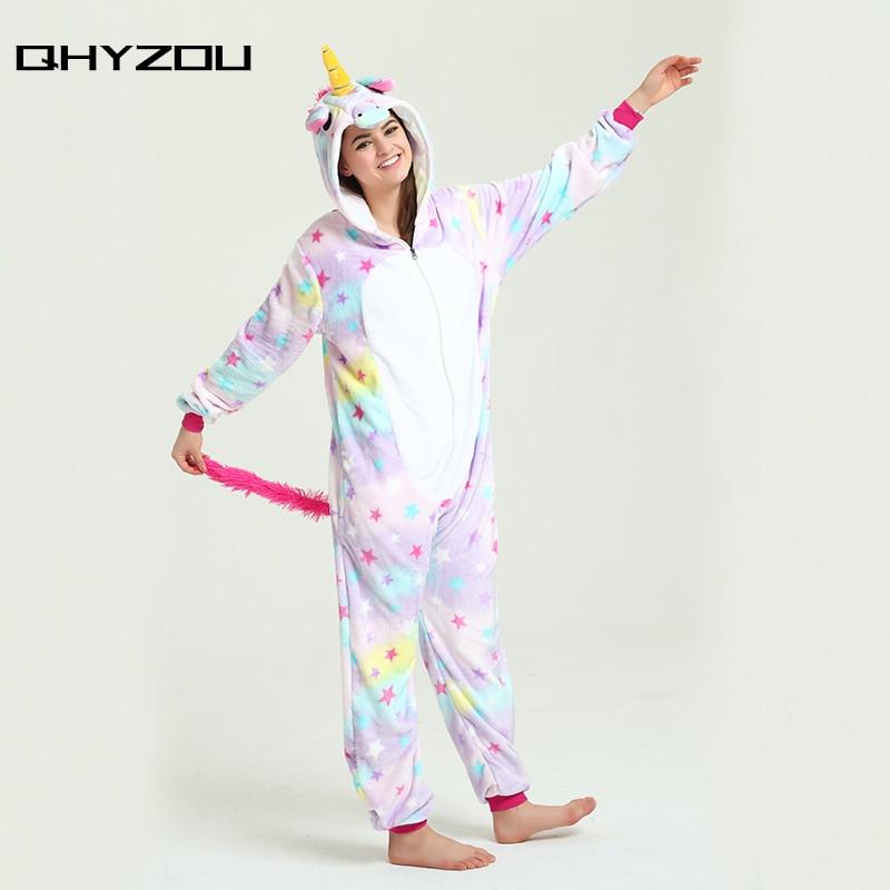 Star Print Unicorn Onesie women kigurumi pantufa de unicornio onsie pijamas jumpsuit dis ...