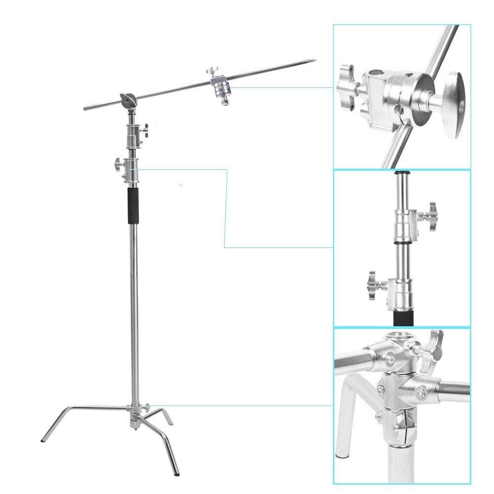 In Acciaio Inox Multi-funzione di Fotografia Studio Heavy Illuminazione Secolo C Stand con Gambe Pieghevoli Testa di Presa e del Braccio Kit chrome