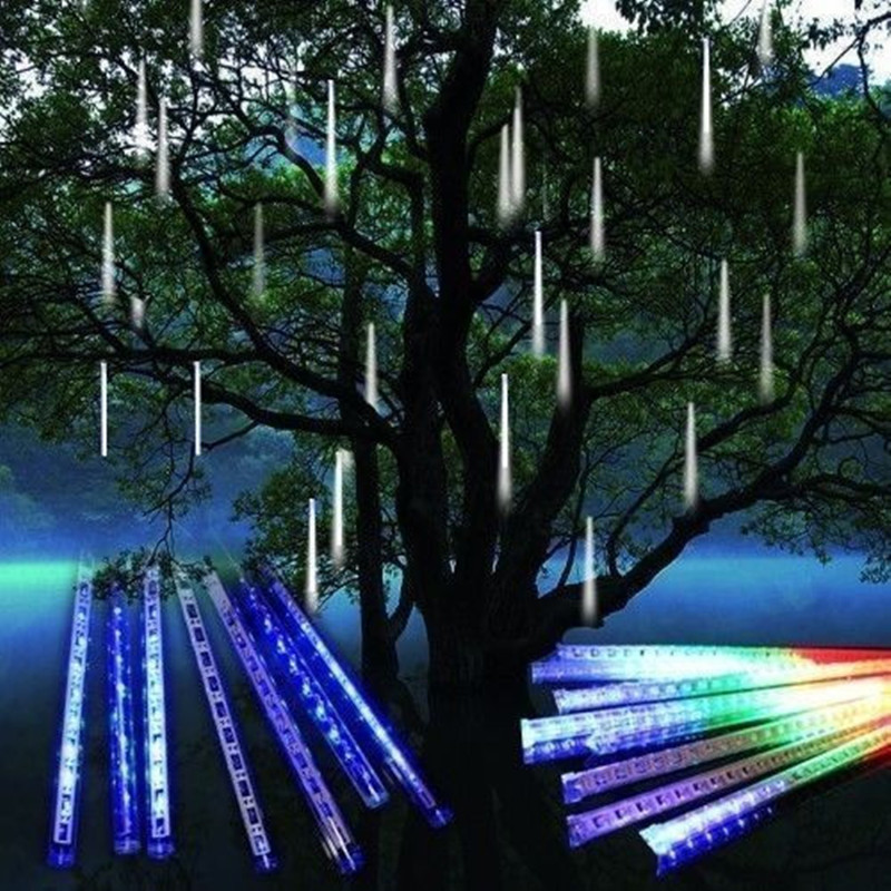 euus plug 8 tubes rain dropicicle snow fall string led christmas tree decoration cascading meteor light decorationrgbwblue in led strips from lights - Shooting Star Christmas Lights Outdoor
