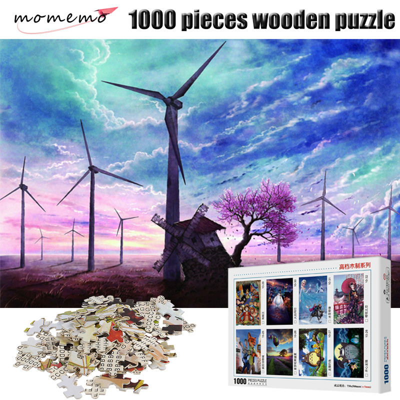 MOMEMO Windmill Pattern Landscape Puzzle 1000 Pieces Wooden Jigsaw Puzzle Game 1000 Pieces Puzzles Toy Adults Assembling Toys