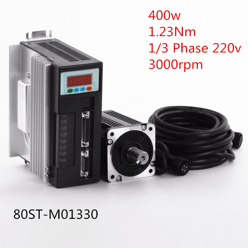 400w 1.23Nm 220v 3000rpm NEMA32 80mm Servo Motor+Driver+Cable 80ST-M01330 for Food Processing Machine with 2 years Warranty 2 sets ac servo motor 4n m 1000w with driver and cable 80st m04025