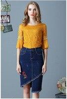 Eo cao thêu hoa của phụ nữ jeans midi calf bút chì váy mùa hè Cơ Bản Ống Bodycon không đối xứng Váy Femininas