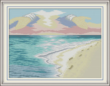 Beach cross stitch kit aida 14ct 11ct count print canvas cross stitches needlework embroidery DIY handmade(China)