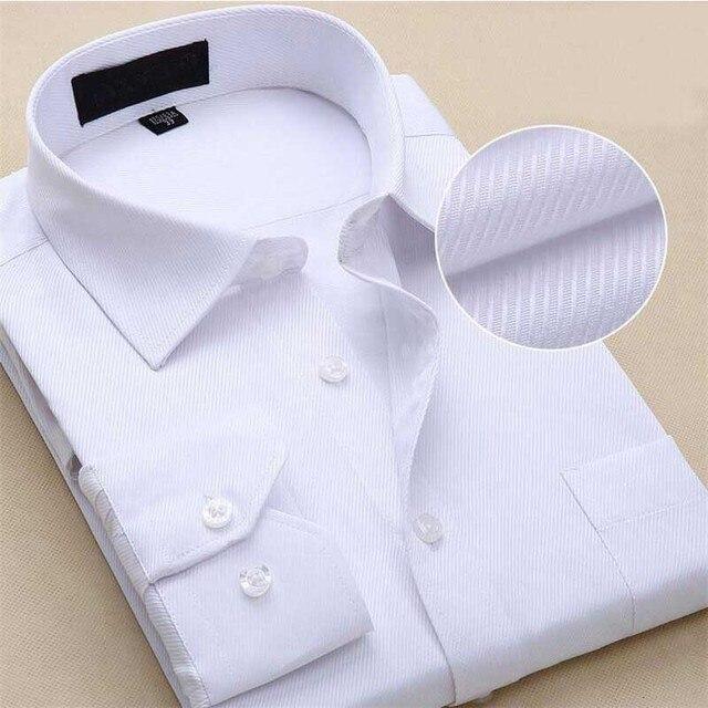 Primavera de los hombres sólidos camisas de manga larga camisa de los hombres de negocios más tamaño vestido de camisa de la manera adelgazan marca clothing ropa de trabajo mcl012