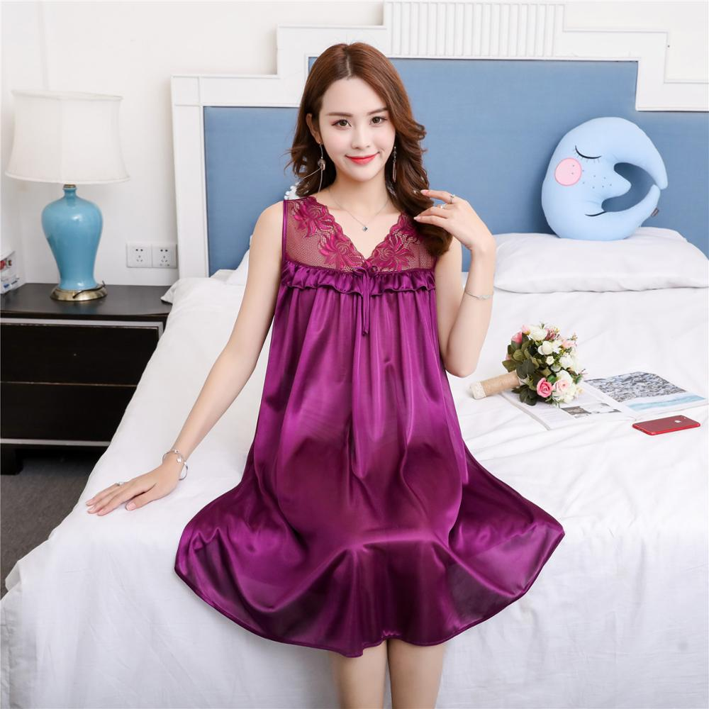 Sexy Summer New Fat MM Ice Silk Nightdress Thin Ladies   Nightgown   Casual Home Dress Pregnant woman Loose Sleepwear   Sleepshirt