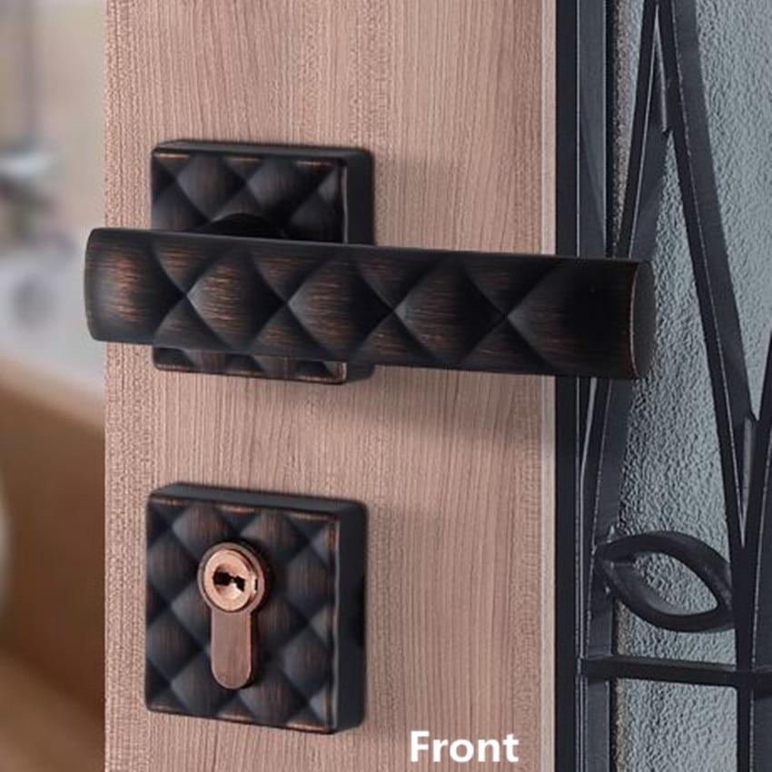 American split lock interior door lock bedroom door lock home mute Black antique copper indoor solid wooden door locks Rereo
