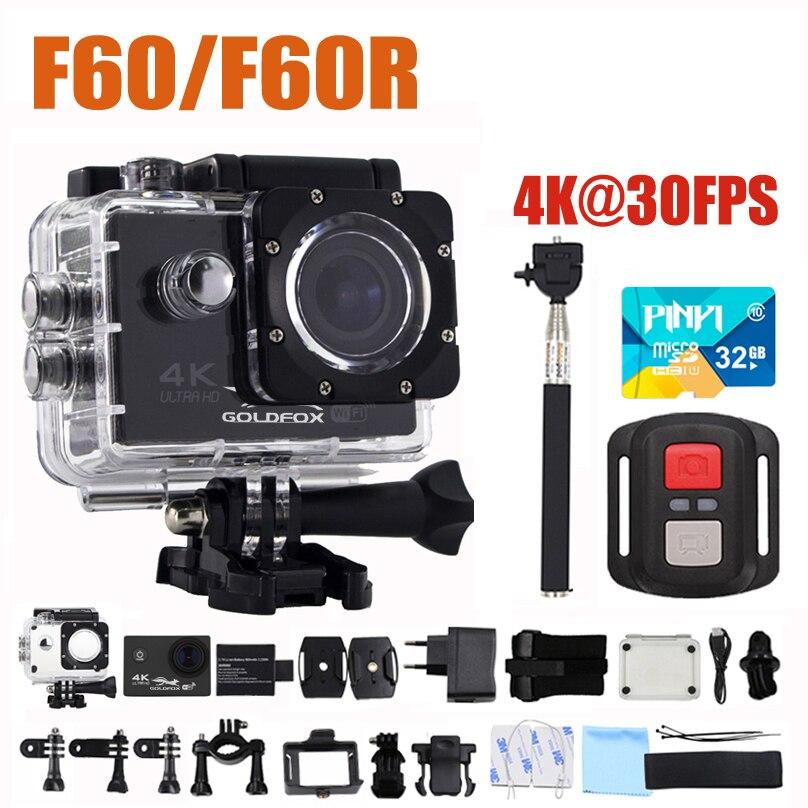 GOLDFOX F60/F60R 16MP 4 K Wifi caméra d'action 1080 P 60fps caméra de Sport 170D 30 M Go étanche Pro Sport DV casque de vélo Mini caméra