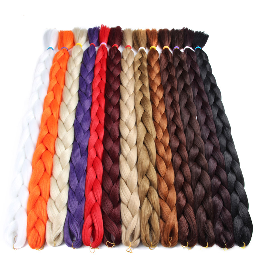 Alileader Synthetic Hair 82Inch High Temperature Fiber Jumbo Brading Pink Blue Pure Crochet Braiding Hair Extension