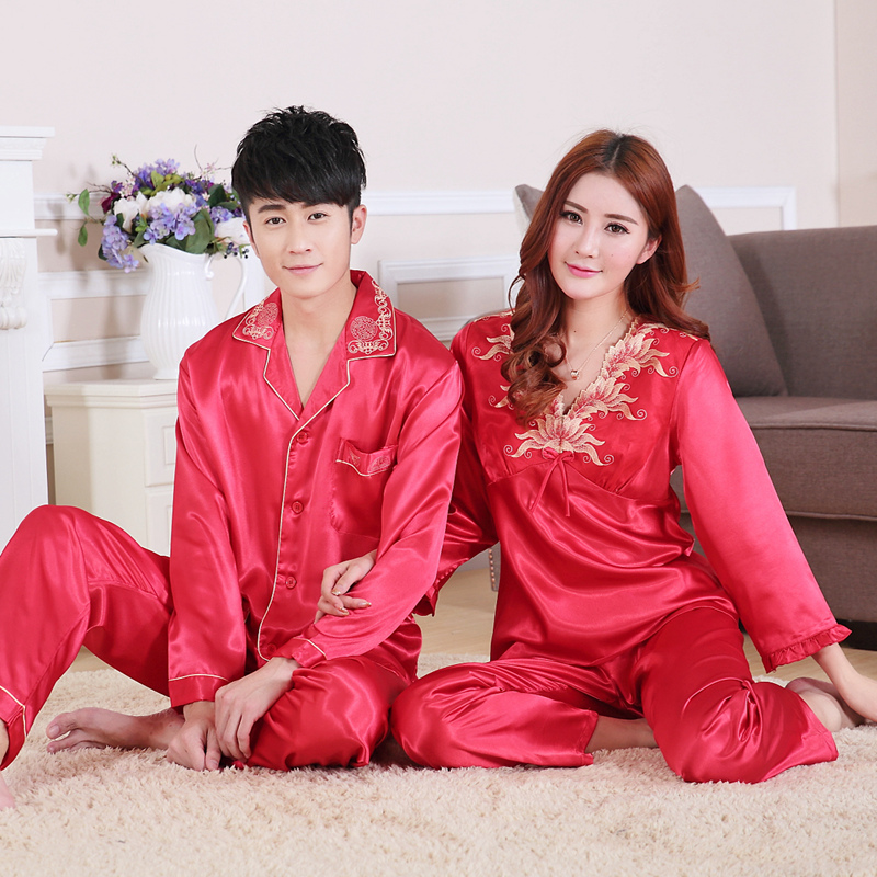 Spring autumn summer couples silk pajamas long sleeved nightgown, men, ladies, new wedding, red, two-piece lovers loungewear