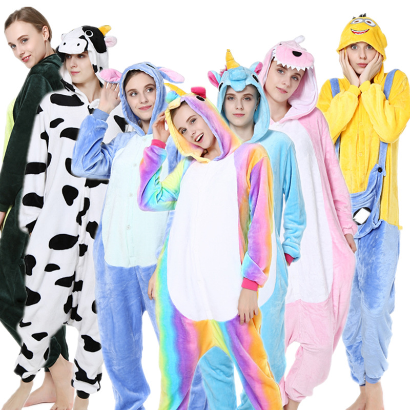 Winter Jumpsuit Adult Women & Men Animal Pajamas Flannel Pajama Halloween Hooded Sleepwear Unicorn Stitch Panda Zebra Jumpsuits