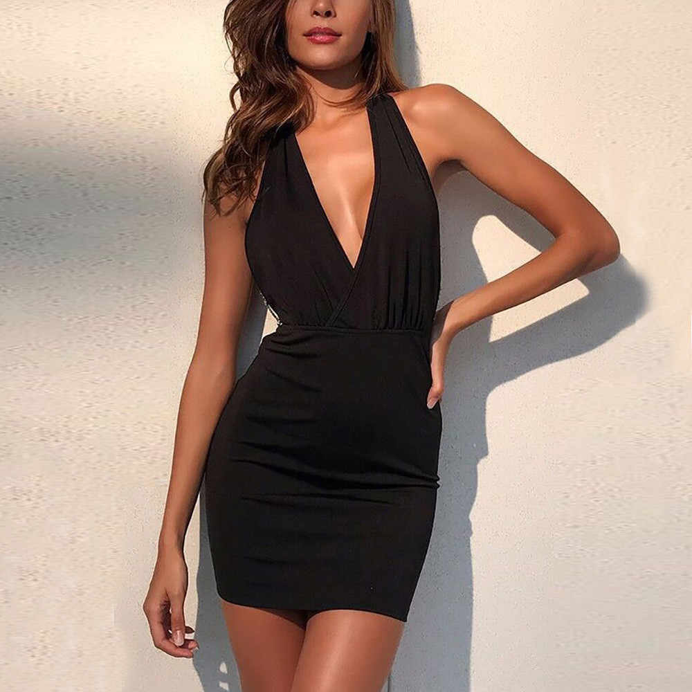 ... Women Bodycon Dress Clubwear 2018 Sexy Backless metal chain Deep v  collar Party Dresses Black Sleeveless ... dba4931943d6