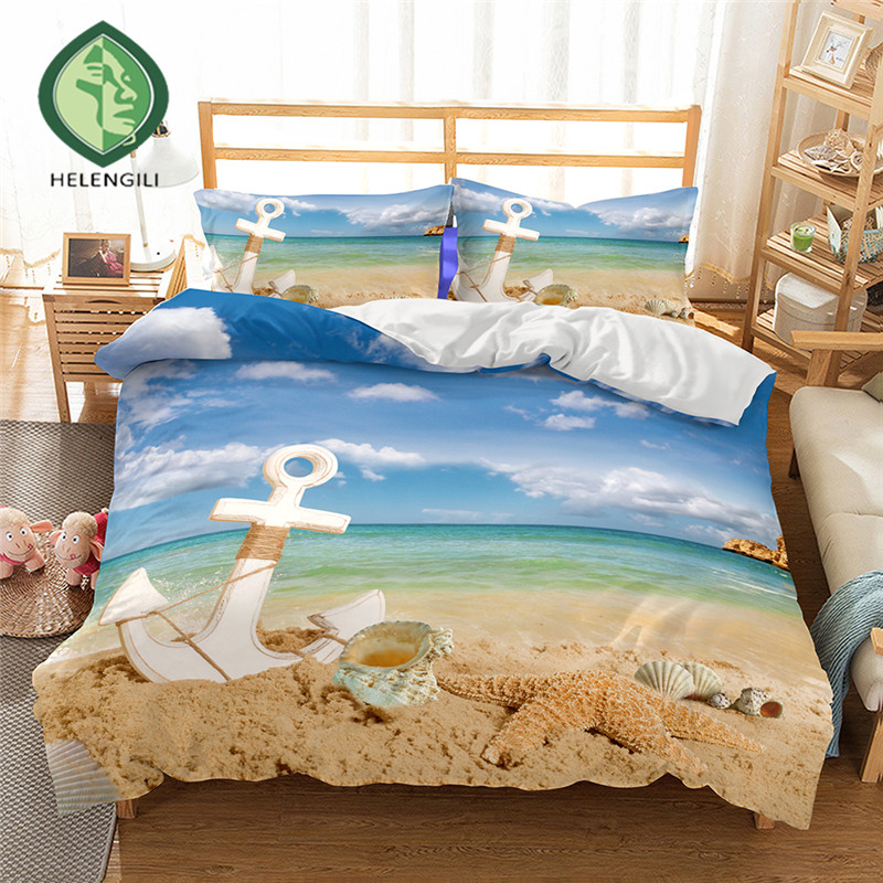HELENGILI 3D Bedding Set Ships anchor Print Duvet cover set lifelike bedclothes with pillowcase bed set home Textiles #2-07HELENGILI 3D Bedding Set Ships anchor Print Duvet cover set lifelike bedclothes with pillowcase bed set home Textiles #2-07