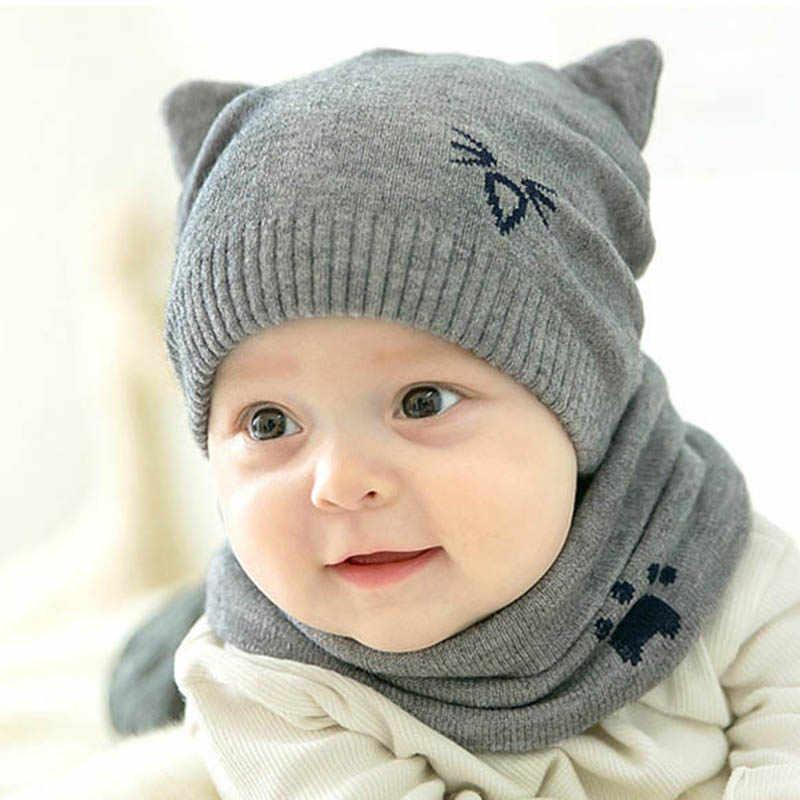 2 Pcs Set Winter Warm Baby Hat Scarf Cartoon Cute Bear Cap Protect Ear  Beanie 80dec5ccf04f