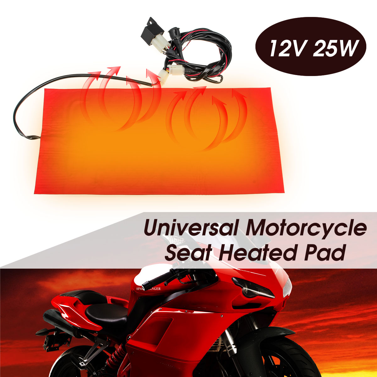 Adanse 25W 12V Universal Motorcycle ATV Seat Heated Cushion Waterproof Pad Heating Pad Mat Winter Warmer