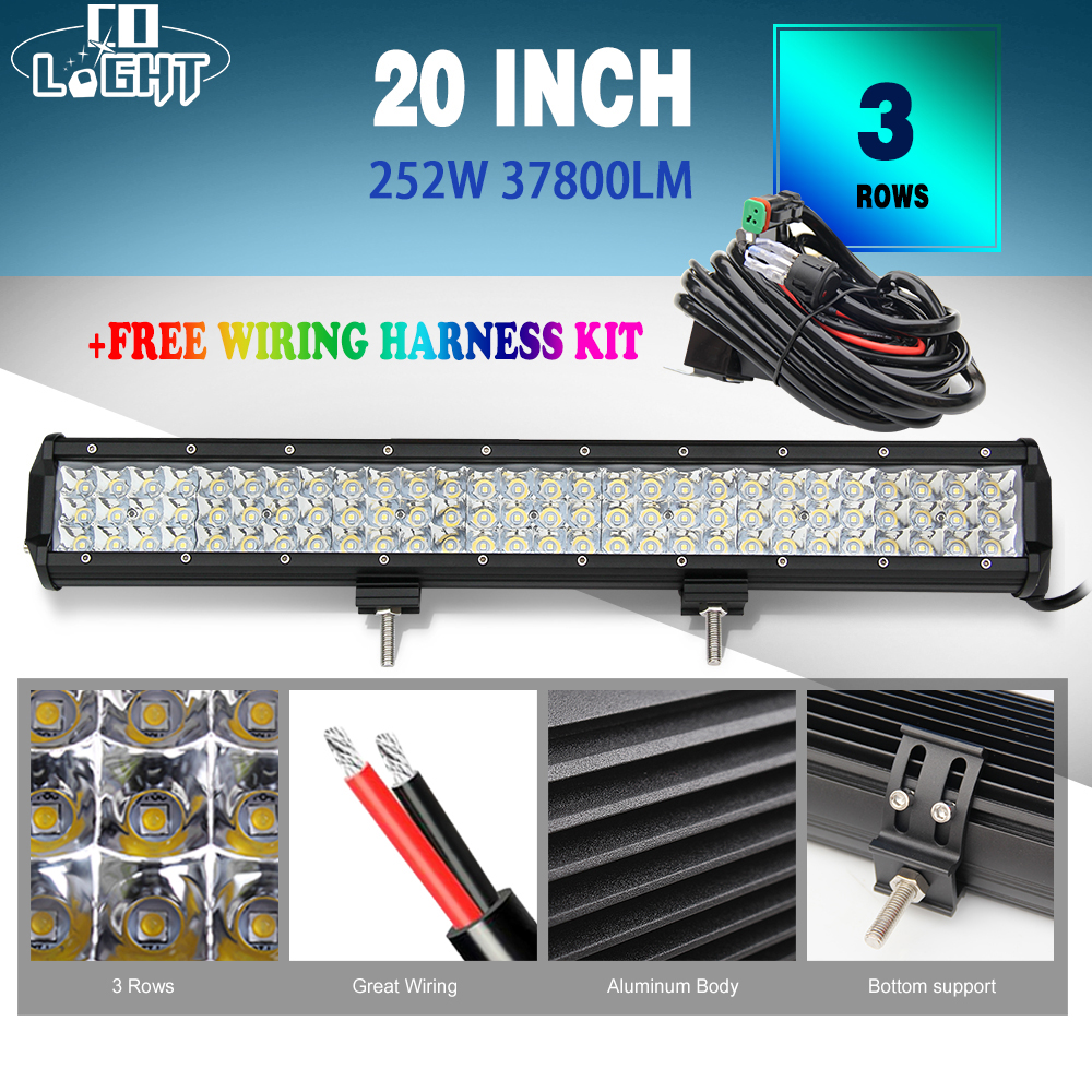 CO LIGHT 252W 20 LED Work Light Bar for Tractor Boat OffRoad 4WD 4x4 Truck SUV ATV Combo Beam 10-30V DC 6000K 20inch WJH