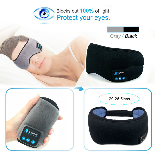 JINSERTA sans fil stéréo Bluetooth écouteur masque de sommeil 5.0 Bluetooth sommeil doux écouteurs soutien mains libres sommeil masque pour les yeux