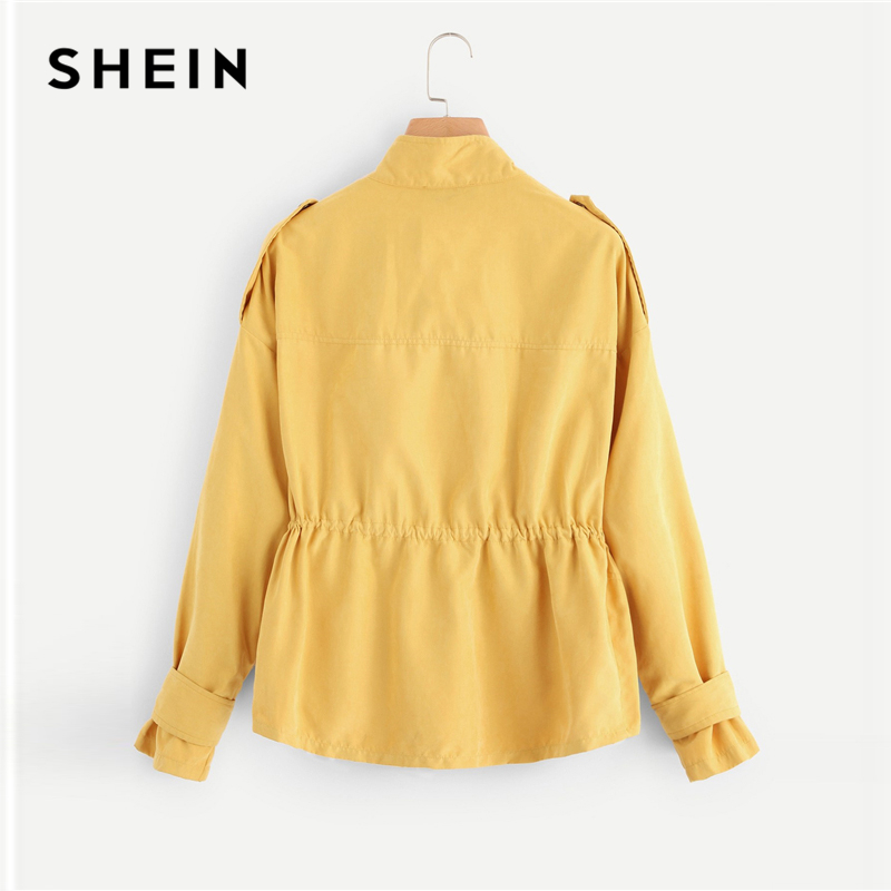 SHEIN Casual Yellow Button Pocket Front Stand Collar Single Breasted Plain Jacket Autumn Modern Lady Women Coat Outerwear 2