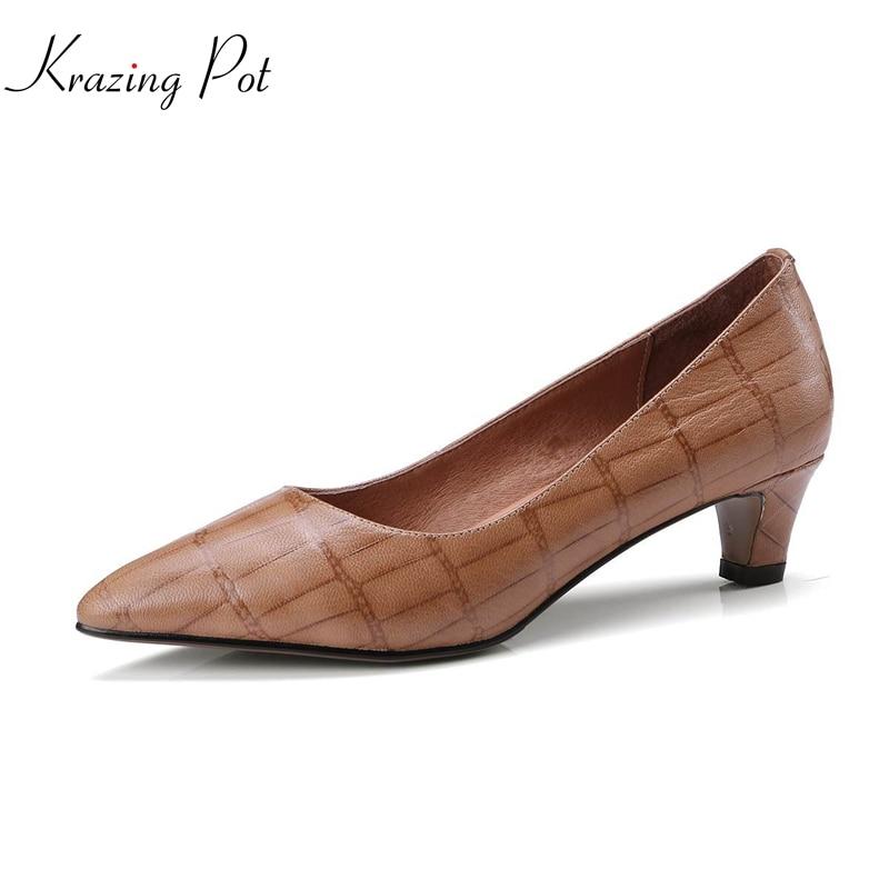 где купить Krazing pot 2018 genuine leather brand shoes med heels slip on woman pumps pointed toe shallow office style spring shoes L86 по лучшей цене