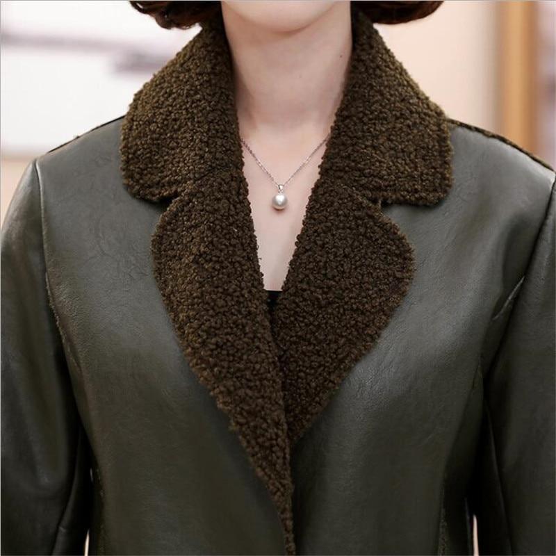À army Daim Longue En Manches De Manteau 2018 D'hiver Cuir Green Femelle Artificielle Longues Noir Msaiss Mouton Peau Veste Fourrure Femmes fgBqnwO