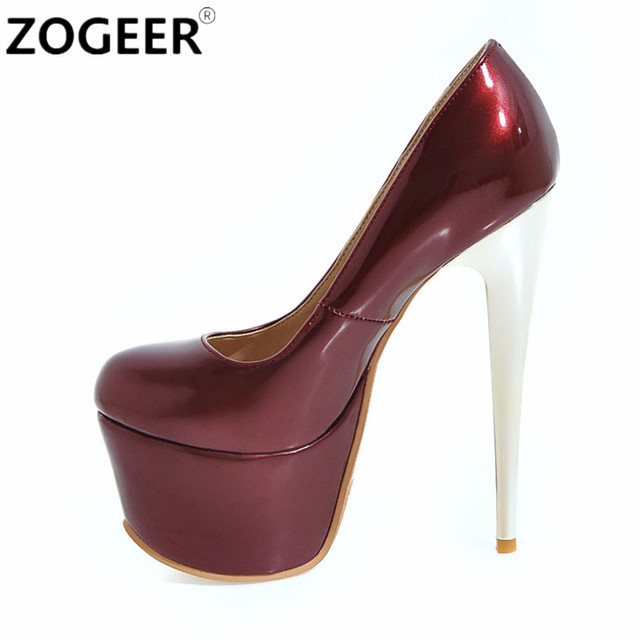 70d1e799a410 Plus Size 48 Fashion Women Pumps Platform Extreme High Heels Shoes 16 CM  Sexy Pumps Nightclub Evening Party Wedding Shoes RED
