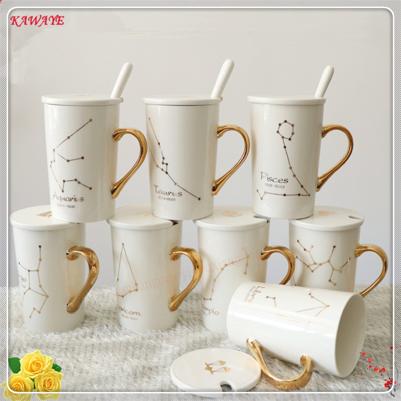 1set Creative Hand Painted Twelve Constellation Gift Coffee Mug Gold Handle Ceramic Cup High Bone China Cup Home Supplies 6DZ323