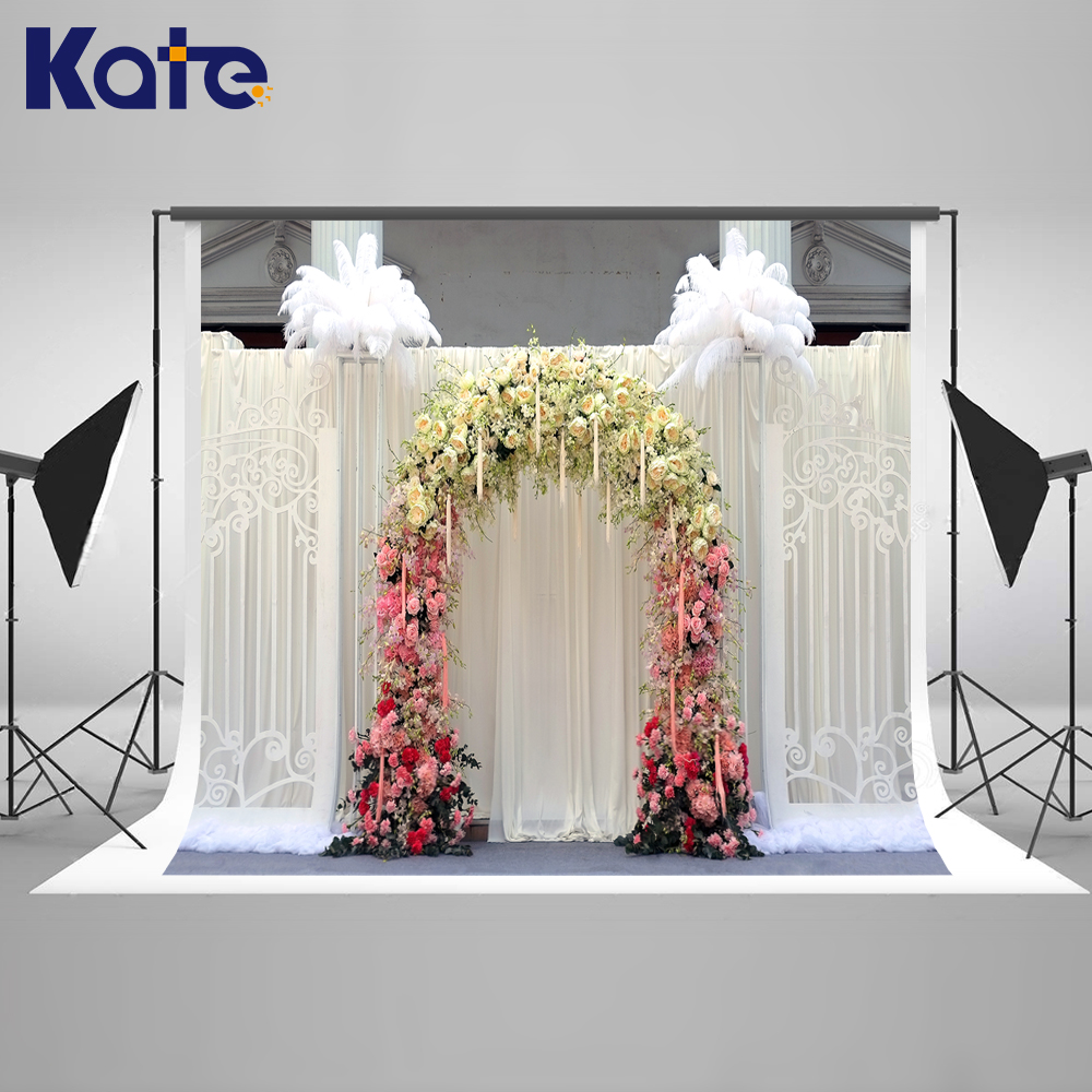 KATE Photo Background Wedding Backdrops Wedding Garden Arch White Curtain Background Photography Backgrounds For Photo Studio