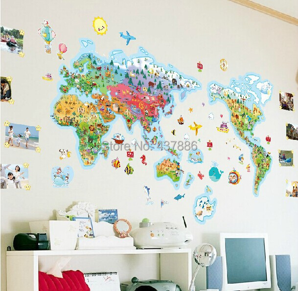 Rice cartoon world map of the world large children real cartoon