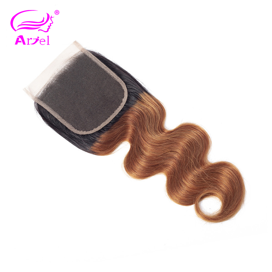 Ombre 1b 30 Lace Closure Malaysian Body Wave Closure 1B 30 Blonde 4x4 Free Part Closure Two Tone Remy Human Hair Closure ARIEL
