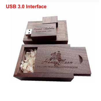 New Custom LOGO Walnut Wooden Wood USB 3.0 Interface Memory Flash stick Pen drive Photos.Pictures Words