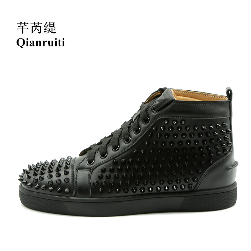 Qianruiti Stylish Men Spike Casual Shoes Rivet Sneaker Lace-up Flat High Top Men Camping Shoes Chaussure Homme Customized Color 2016 canvas shoes men casual shoes men high top chaussure homme valentine to waterproof shoes summer boots 4 color unisex d084