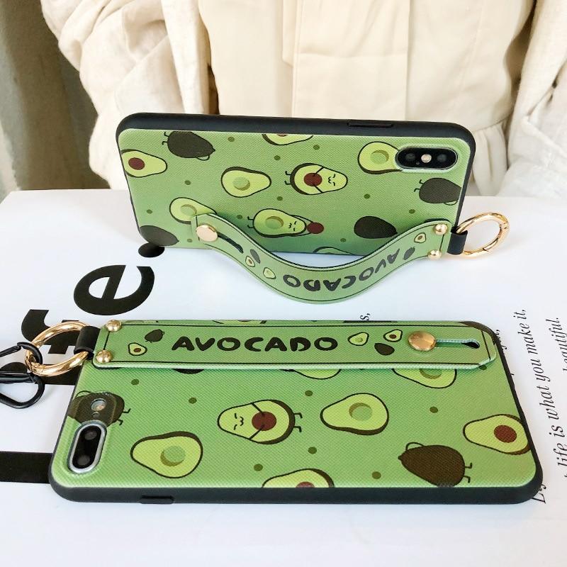 SoCouple Phone Holder Case For iphone XR X Xs max 11 Pro Max 7 8 6 SoCouple Phone Holder Case For iphone XR X Xs max 11 Pro Max 7 8 6 6s plus Fruit Avocado Soft TPU Neck Wrist Strap Lanyard Case