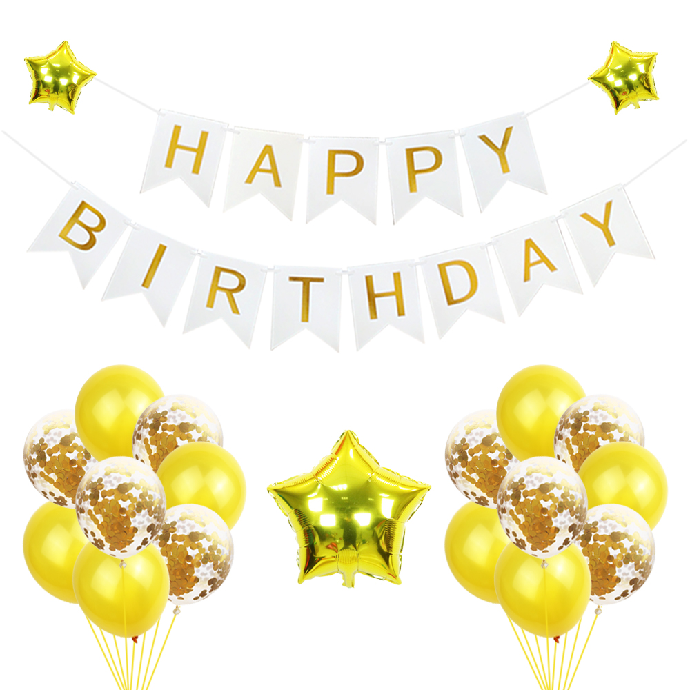 1 Set Happy Birthday Banner Transparent Confetti Balloon 18 Inch