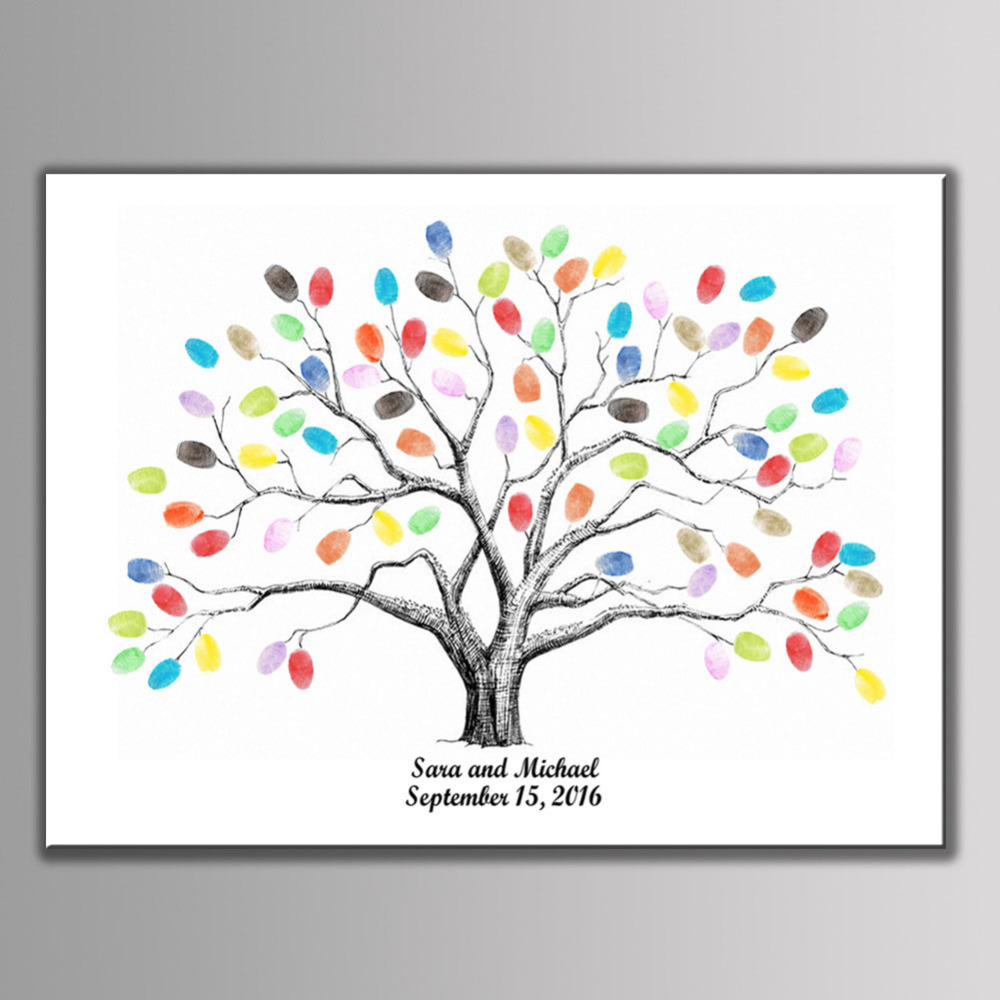 DIY Fingerprint Signature Guest Book of Life Tree for Wedding Birthday Party Baby Shower Baptism Decor Souvenir Canvas Painting