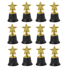 Premium New 12Pcs Star Award Trophies 4.5 Gold Star Trophy for Awards Winners Oscar Hollywood Parties School Kindergarten tortuous star shaped metal trophy customized logo or words to crystal base video music awards grammy trophy for award ceremony
