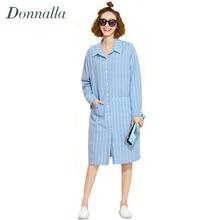 Women Dress Plus Size Women Clothing Loose Vertical Stripe Winter Dress Turn Down Collar Long Sleeve Long Shirt Dress